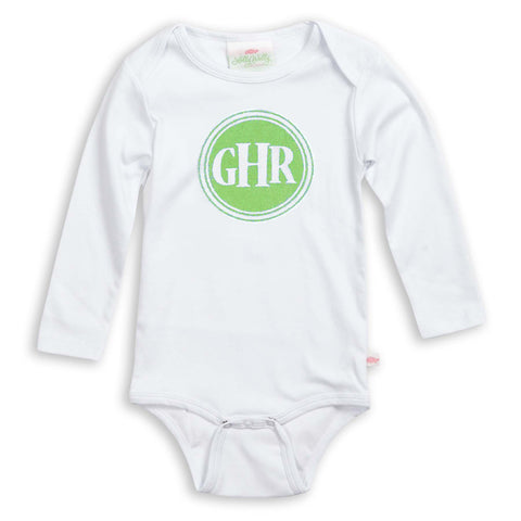 Apple Green Circle Initial Onesie
