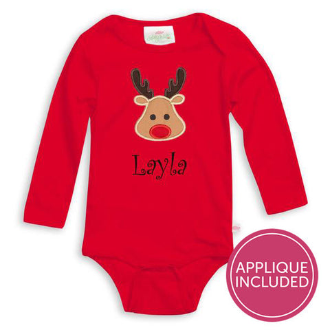 Red Reindeer Applique Onesie