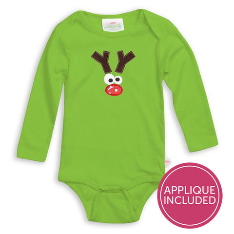 Green Funny Reindeer Applique Onesie