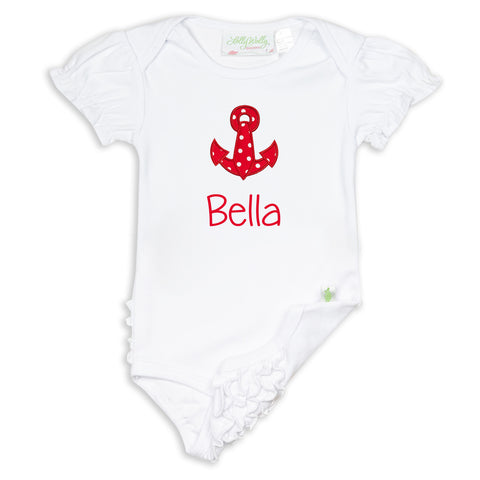 White Ruffle Bottom Onesie
