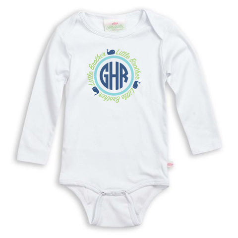 Whale Initials Sibling Onesie
