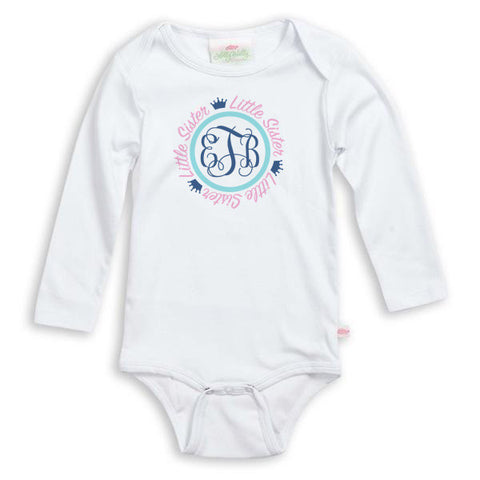 Crown Initials Sibling Onesie