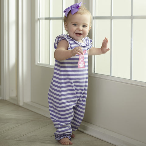 Baby Girls Lavender Stripe Romper