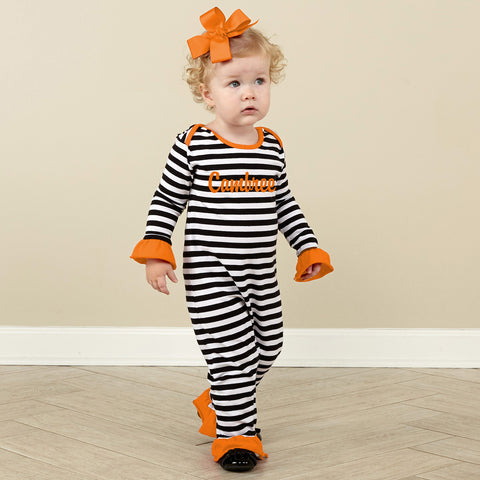 Black Stripe Orange Romper