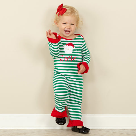 Green Stripe Red Romper