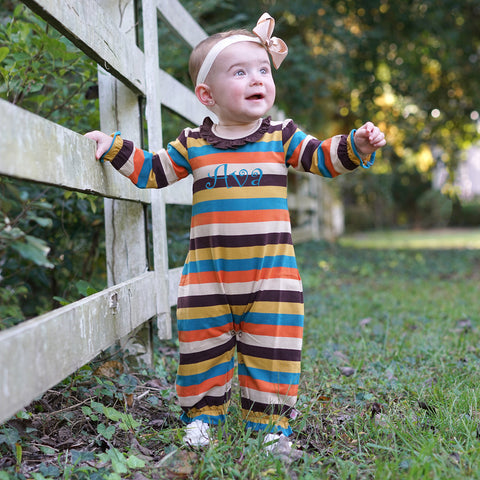 Fall Turquoise Brown Stripe Romper