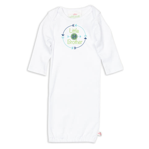Little Brother Arrow Initials Sibling Layette