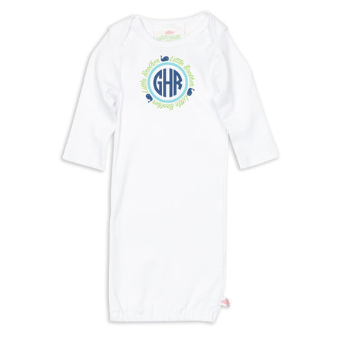 Little Brother Whale Initials Sibling Layette