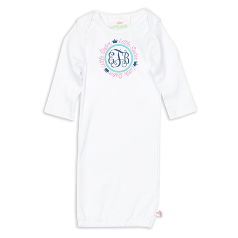 Little Sister Crown Initials Sibling Layette