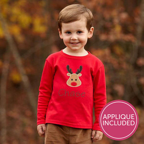 Red Reindeer Applique Tee