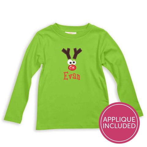 Green Funny Reindeer Applique Tee