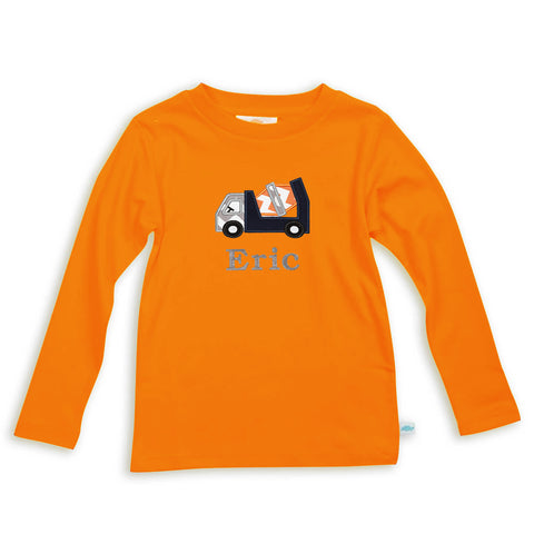 Boys Orange Long Sleeve Cotton Tee