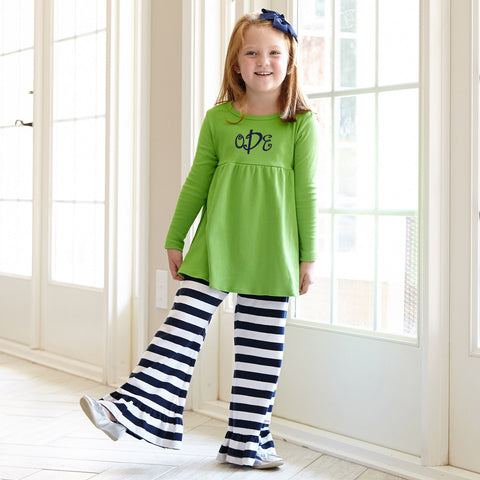 Apple Green Navy Stripe Pant Set