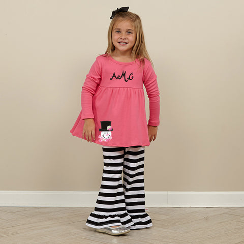 Hot Pink Black Stripe Pant Set
