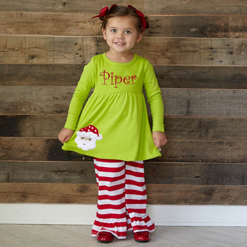 Lime Red Stripe Pant Set