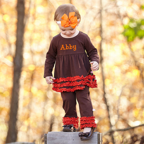 Dark Brown Dark Orange Squinchy Pant Set