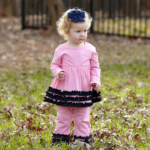 Light Pink Navy Squinchy Pant Set