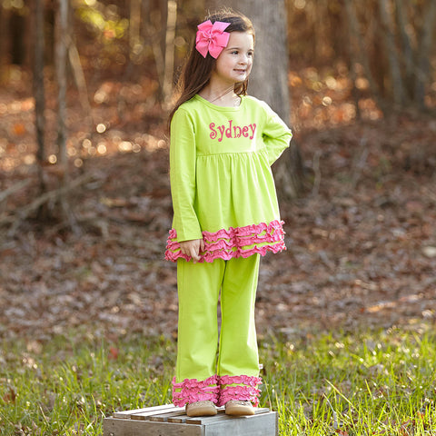 Dark Lime Pink Squinchy Pant Set