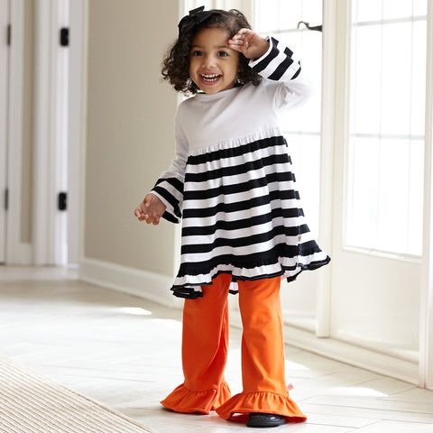 White & Black Stripe Orange Cotton Pant Set