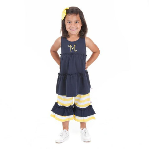 Navy Yellow Stripe Capri Set