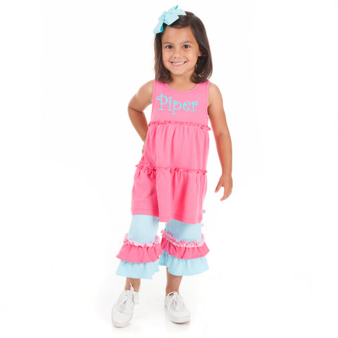 Aqua Hot Pink Double Ruffle Squinchy Capri