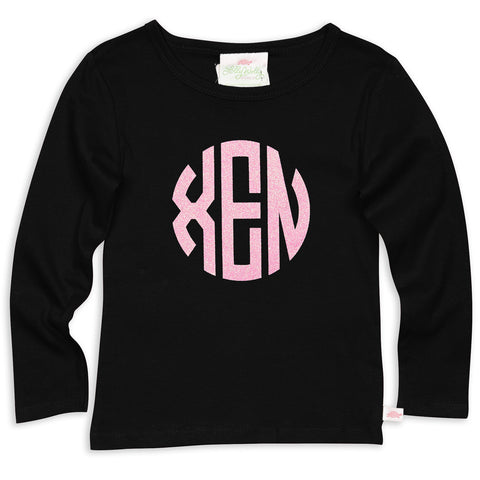 Black Initials Fitted Tee
