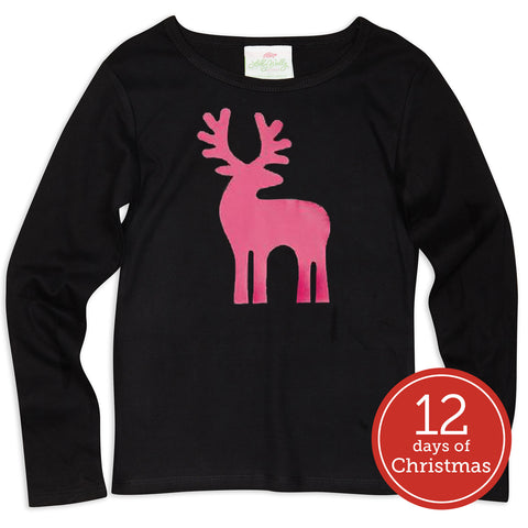 Black Reindeer Top