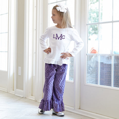 Girls Purple Marquise Minky Pant