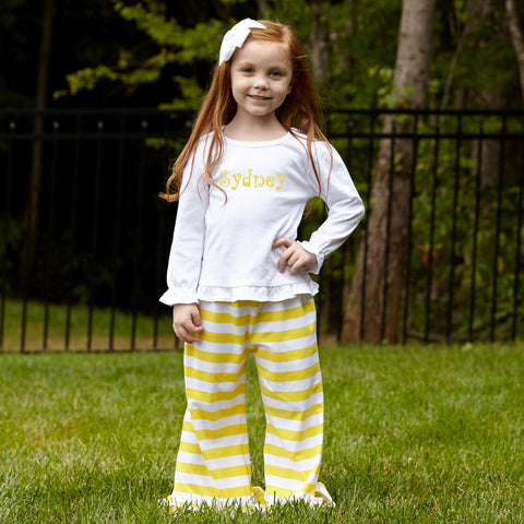 Yellow Stripe Pant Set
