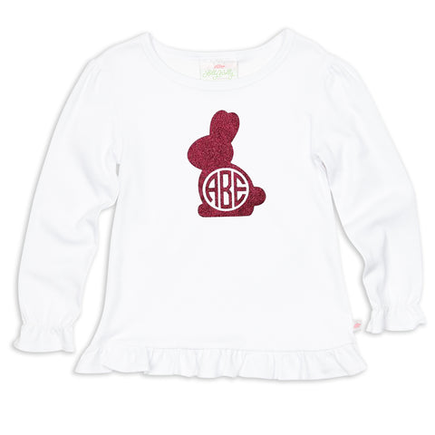 White Hot Pink Sparkle Bunny Initials Top
