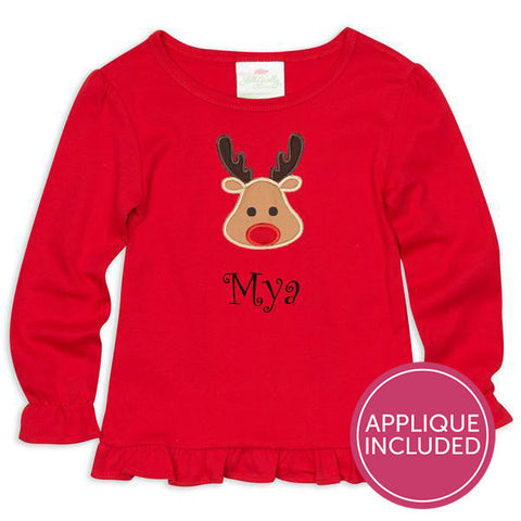 Red Ruffle Reindeer Applique Tee