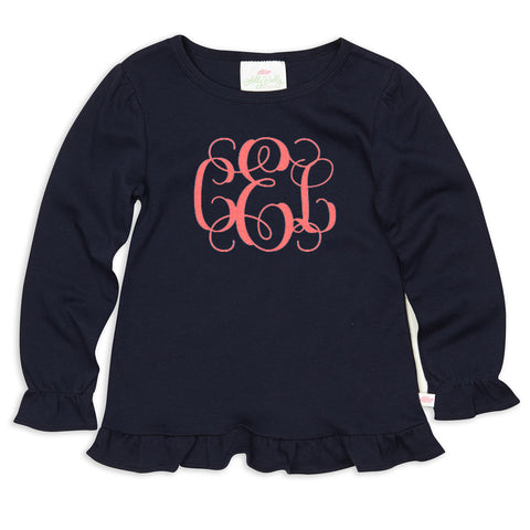 Navy Ruffle Initials Top