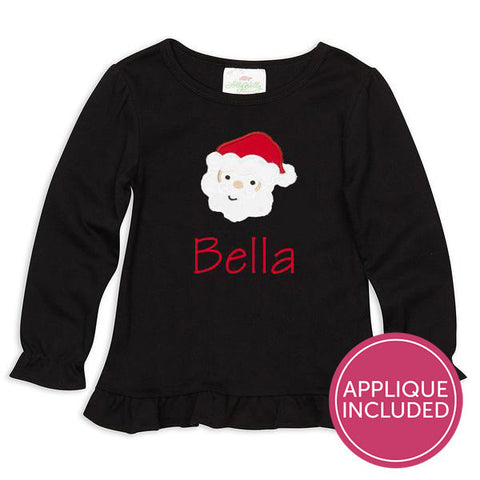 Black Ruffle Santa Applique Tee