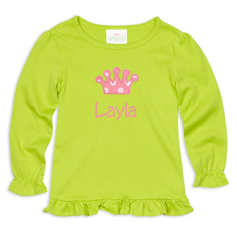 Lime Long Sleeve Ruffle Tee