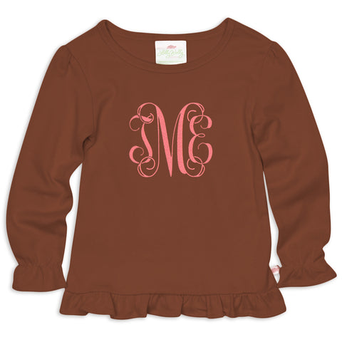 Brown Ruffle Initials Top