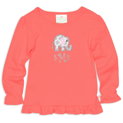 Coral Ruffle Initials Top