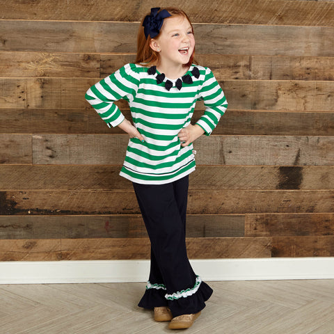 Navy Green Stripe Squinchy Pants