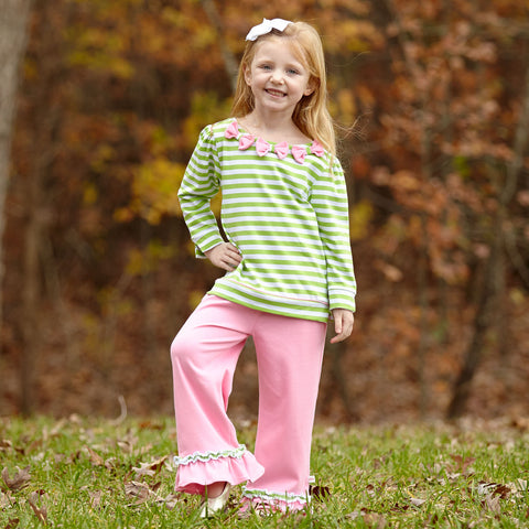 Lime Stripe Pink Bow Pant Set