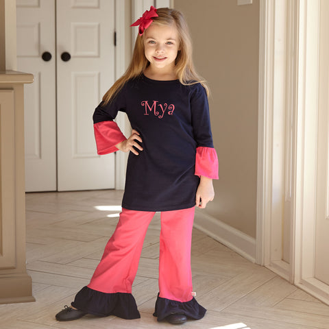 Navy Fuschia Cotton Pant Set
