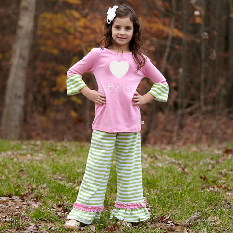 Pink Lime Stripe Pant Set