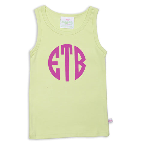Light Lime Initials Tank Top