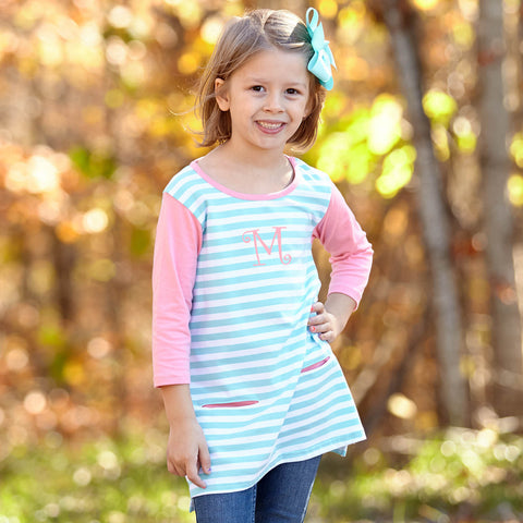 Aqua Stripe Coral Peach Tunic