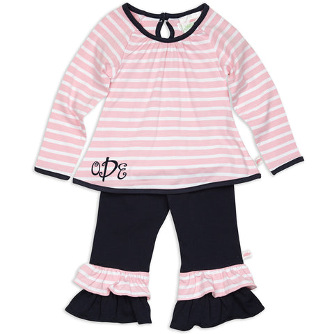 Pink Stripe Navy Pant Set