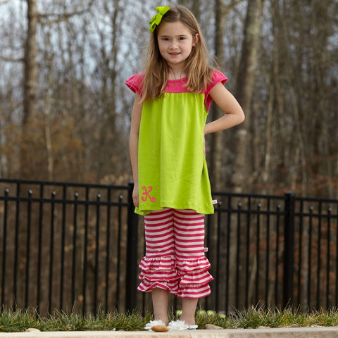 Lime Hot Pink Stripe Capri Set