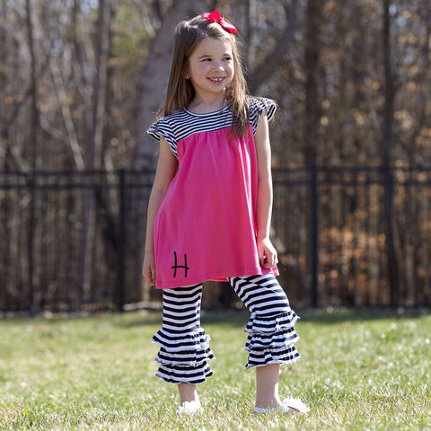 Hot Pink Navy Stripe Cotton Capri Set