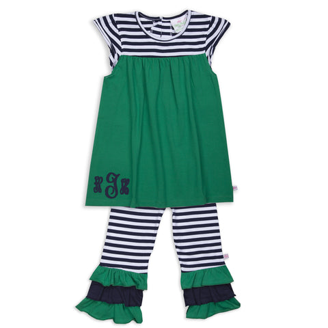 Emerald Green Navy Stripe Capri Set