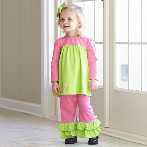 Dark Lime Pink Pant Set