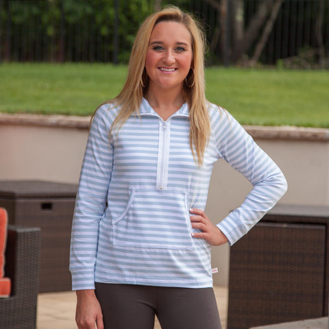 Light Blue Stripe Zip Pullover