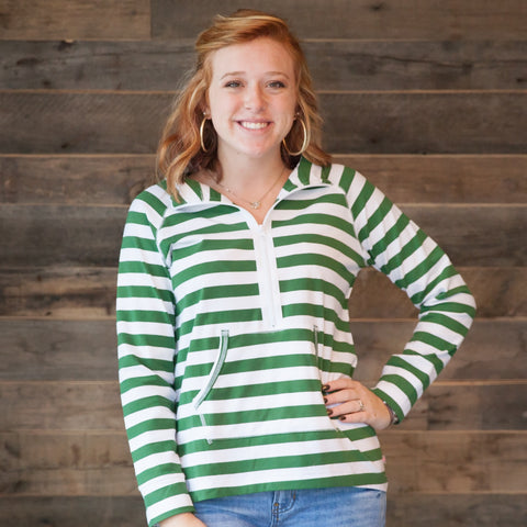 Hunter Green Stripe Pullover