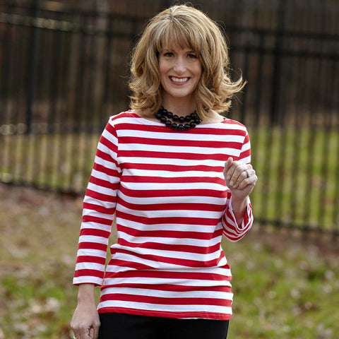 Red Stripe Boatneck Top